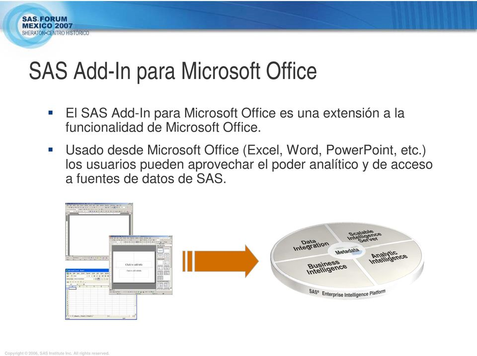 Usado desde Microsoft Office (Excel, Word, PowerPoint, etc.