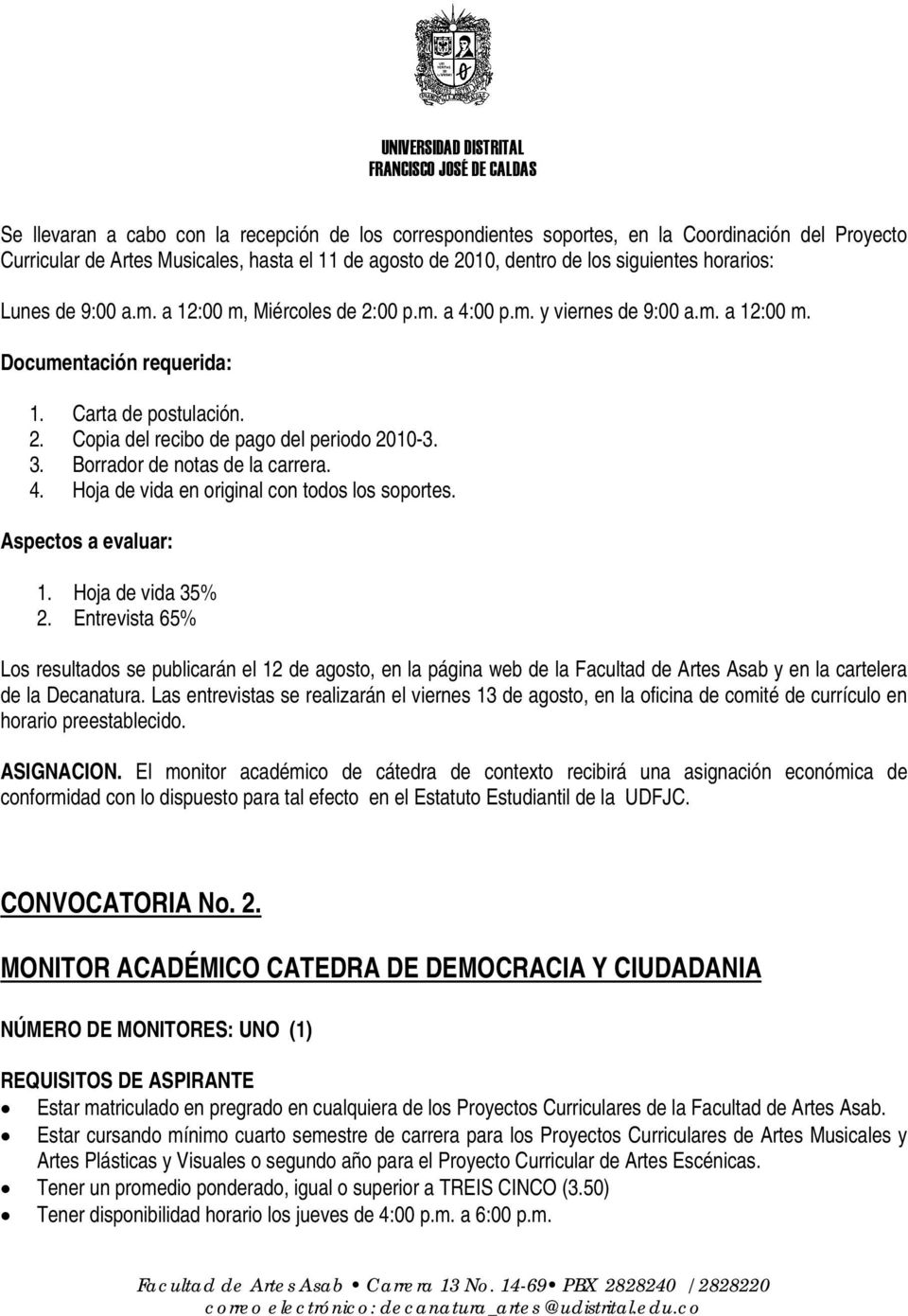 CONVOCATORIA No. 2.