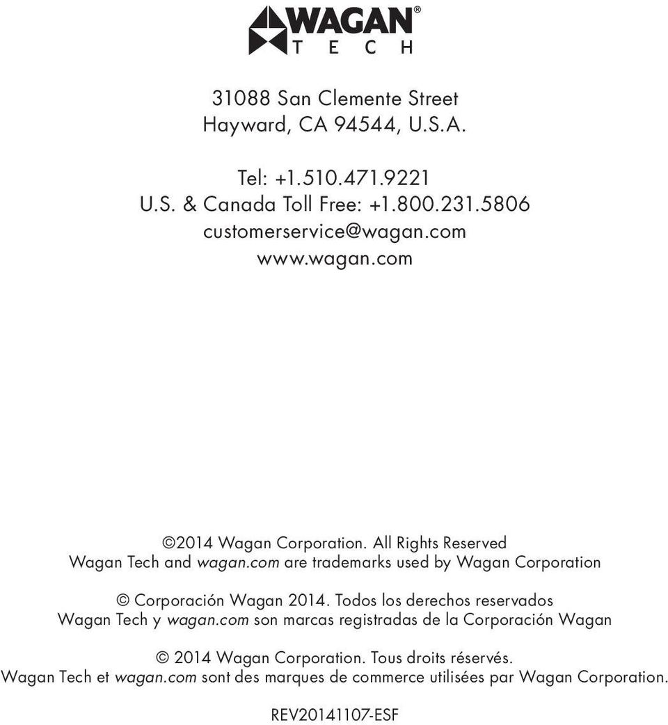 com are trademarks used by Wagan Corporation Corporación Wagan 2014. Todos los derechos reservados Wagan Tech y wagan.