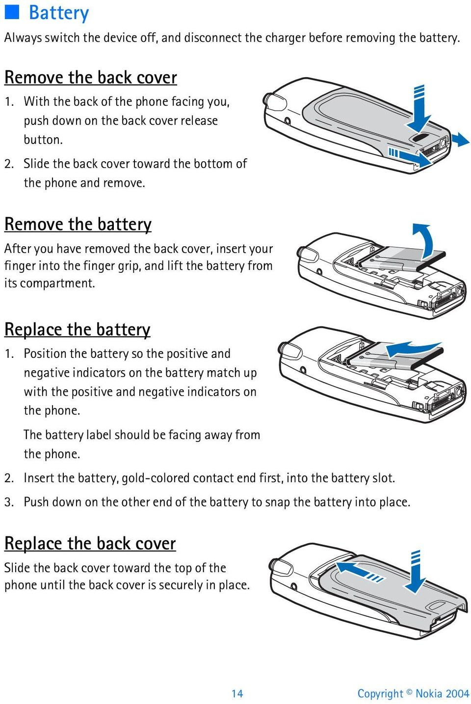 Remove the battery After you have removed the back cover, insert your finger into the finger grip, and lift the battery from its compartment. Replace the battery 1.