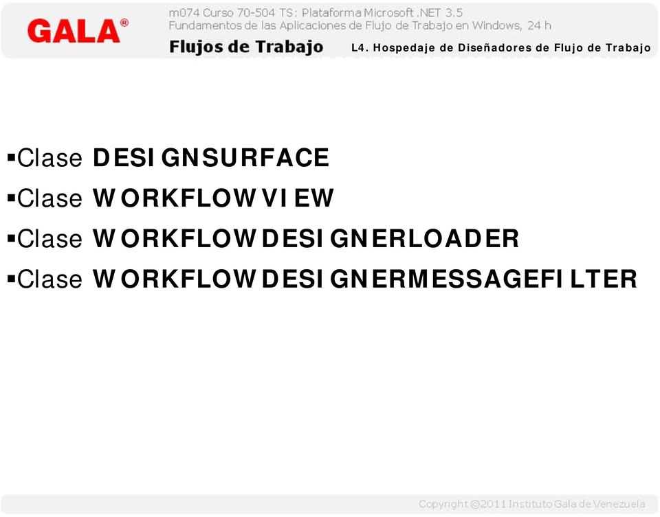 Clase DESIGNSURFACE Clase WORKFLOWVIEW Clase