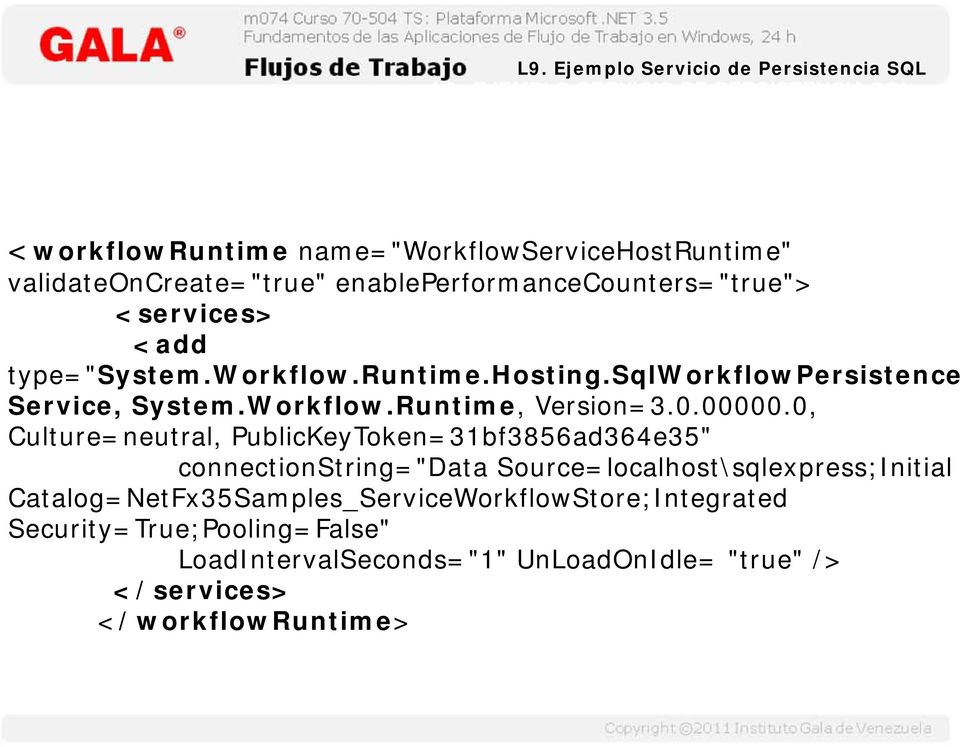 "<services> <add type=""system.workflow.runtime.hosting.sqlworkflowpersistence Service, System.Workflow.Runtime, Version=3.0.00000."