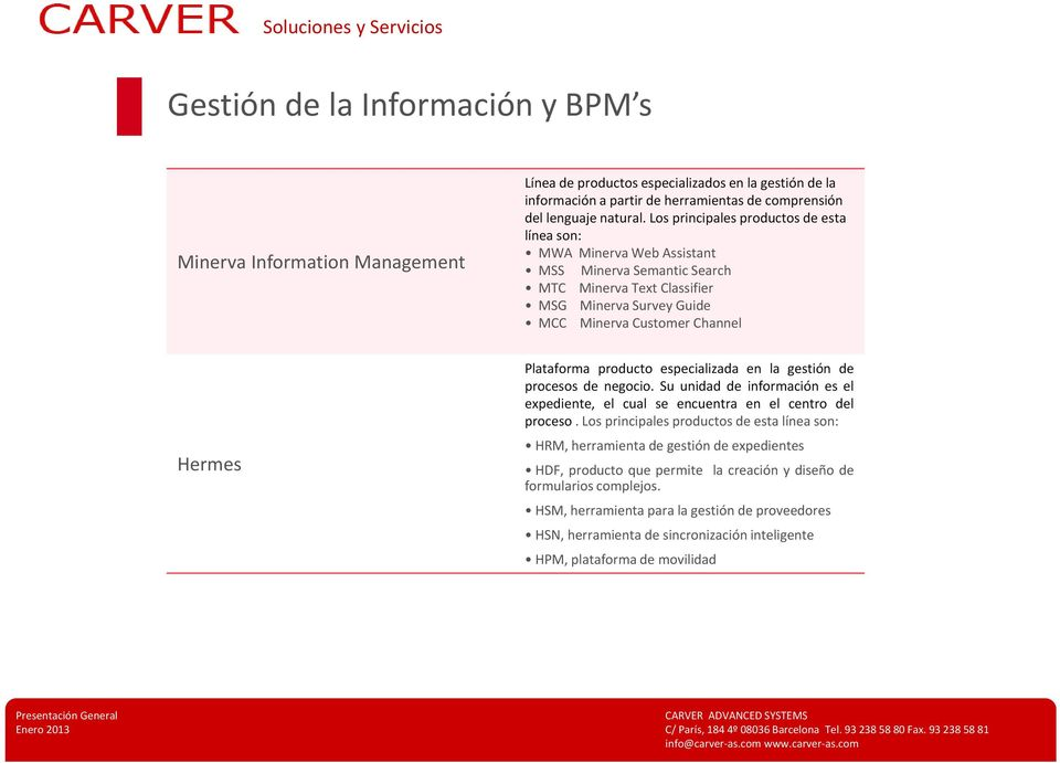 Los principales productos de esta línea son: MWA Minerva Web Assistant MSS Minerva Semantic Search MTC Minerva Text Classifier MSG Minerva Survey Guide MCC Minerva Customer Channel Hermes Plataforma