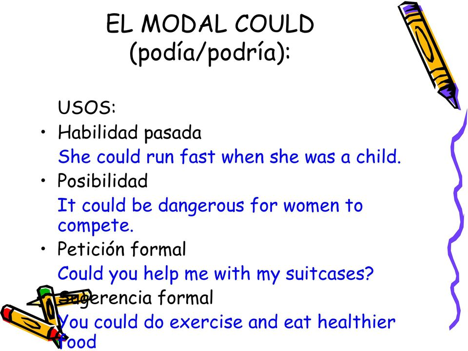 Posibilidad It could be dangerous for women to compete.