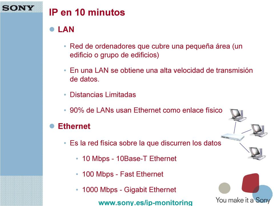 22 Distancias Limitadas 90% de LANs usan Ethernet como enlace físico Ethernet Es la red física