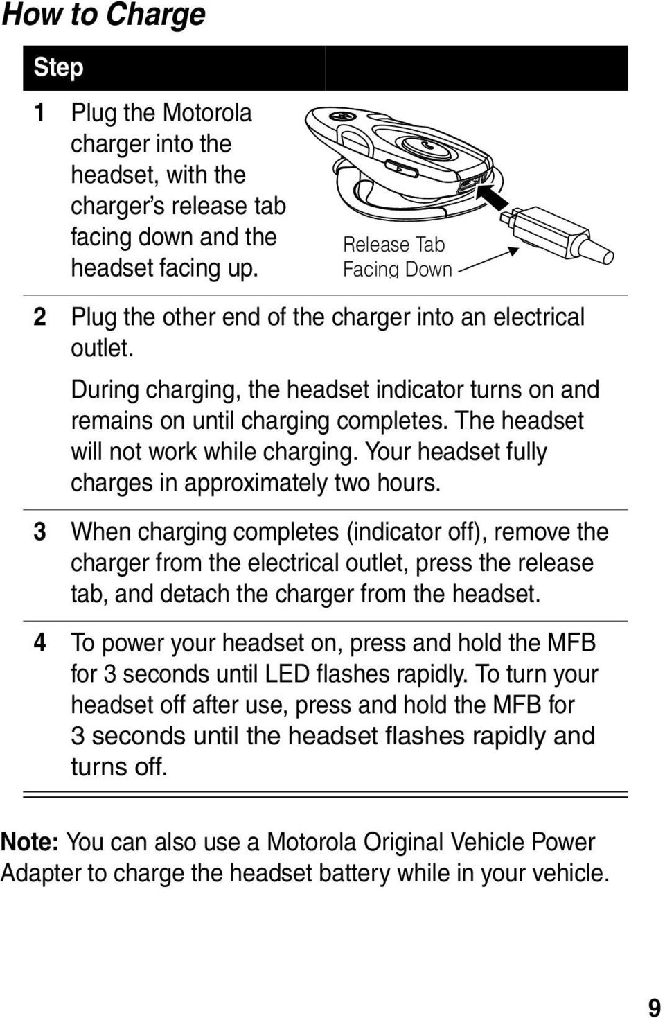 The headset will not work while charging. Your headset fully charges in approximately two hours.
