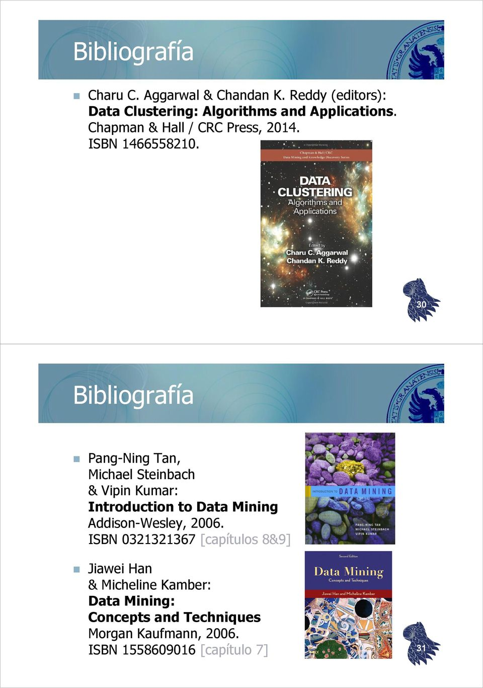 30 Bibliografía Pang-NingTan, Michael Steinbach & Vipin Kumar: Introduction to Data Mining