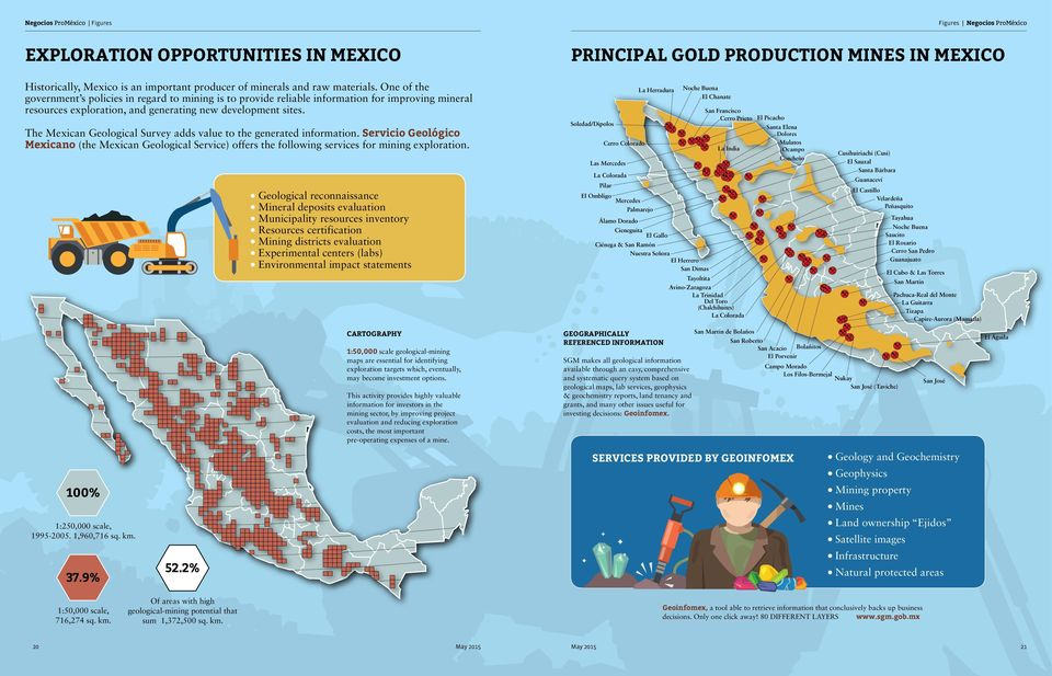 The Mexican Geological Survey adds value to the generated information. Servicio Geológico Mexicano (the Mexican Geological Service) offers the following services for mining exploration.
