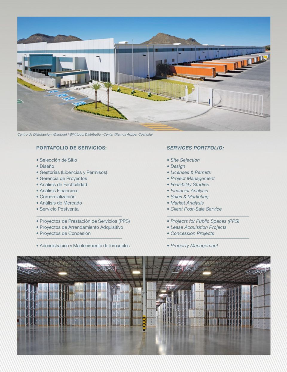 Arrendamiento Adquisitivo Proyectos de Concesión Administración y Mantenimiento de Inmuebles Services Portfolio: Site Selection Design Licenses & Permits Project Management