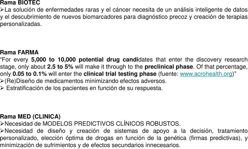 Of that percentage, only 0.05 to 0.1% will enter the clinical trial testing phase (fuente: www.acrohealth.org) (Re)Diseño de medicamentos minimizando efectos adversos.