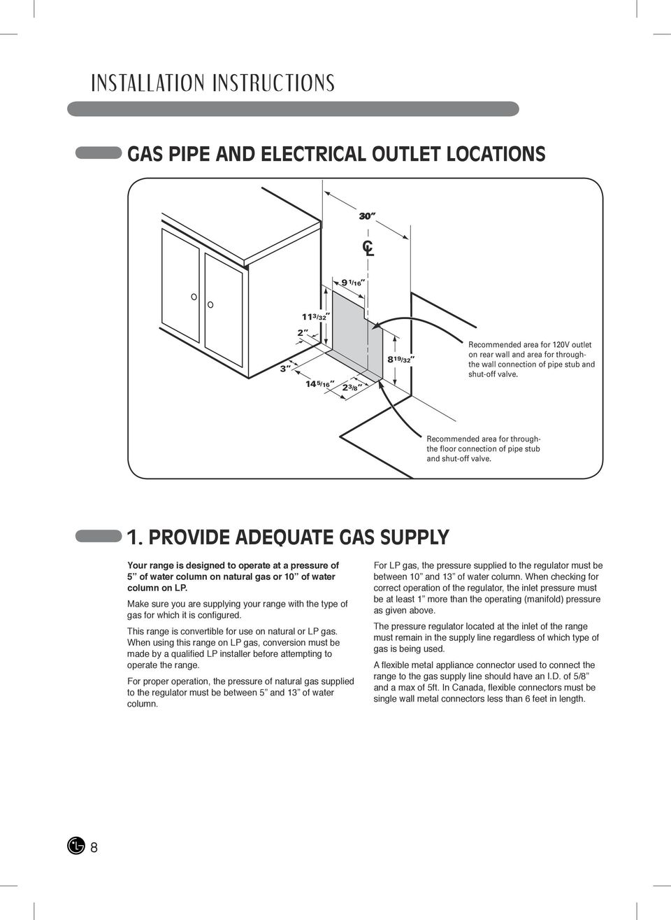 PROVIDE ADEQUATE GAS SUPPLY Your range is designed to operate at a pressure of 5 of water column on natural gas or 10 of water column on LP.