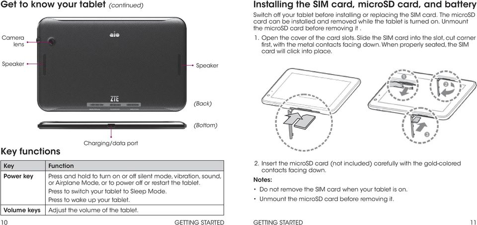 Slide the SIM card into the slot, cut corner first, with the metal contacts facing down. When properly seated, the SIM card will click into place.