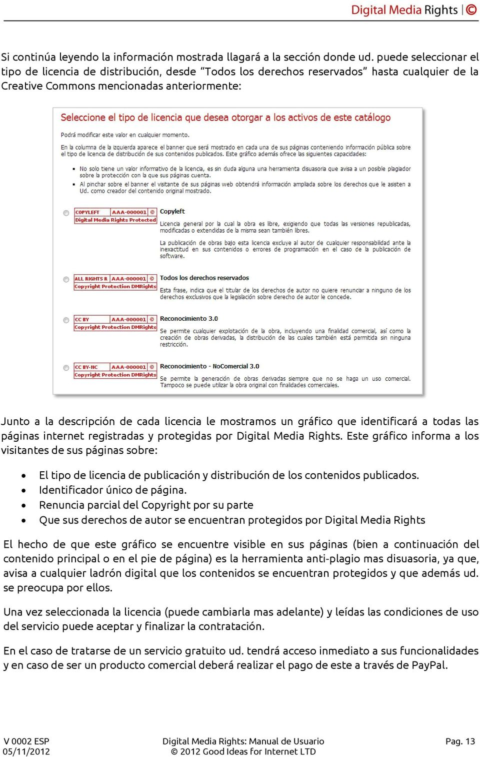 mostramos un gráfico que identificará a todas las páginas internet registradas y protegidas por Digital Media Rights.