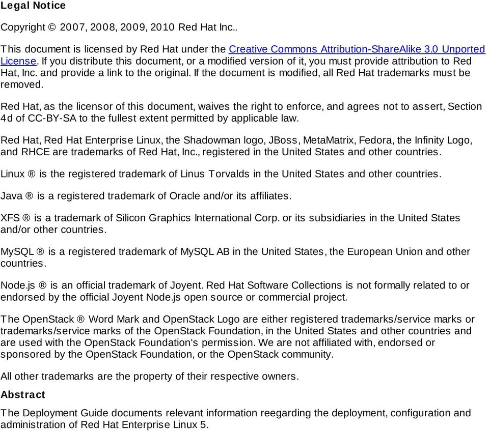 If the document is modified, all Red Hat trademarks must be removed.
