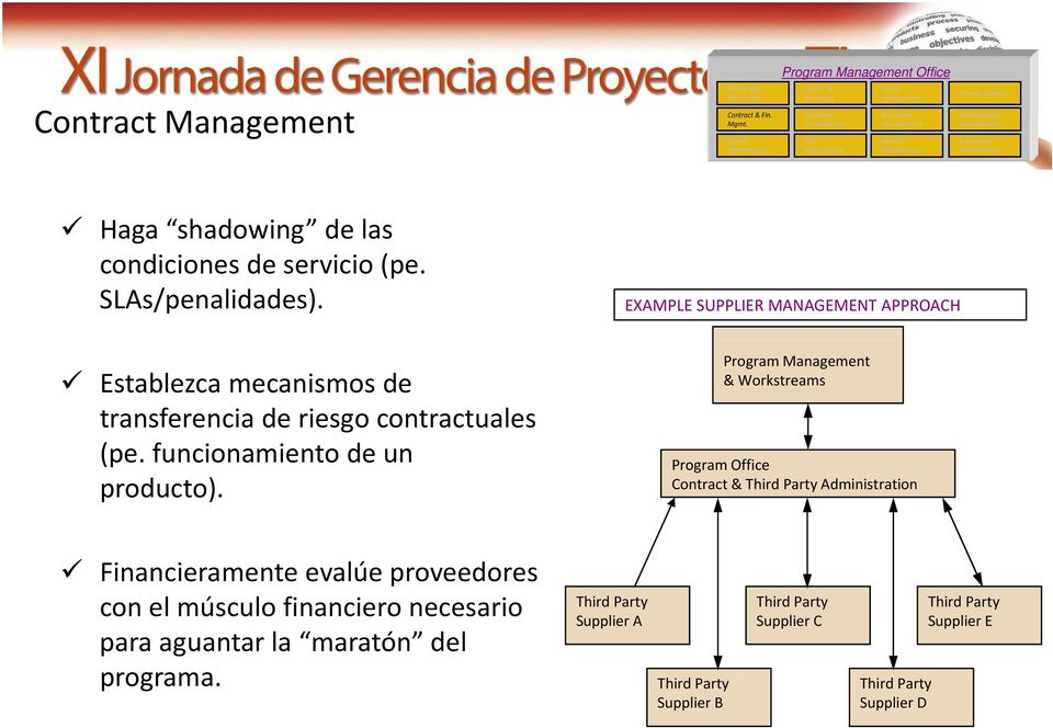 EXAMPLE SUPPLIER MANAGEMENT APPROACH Program & Workstreams Program Office Contract & Third Party Administration Financieramente i