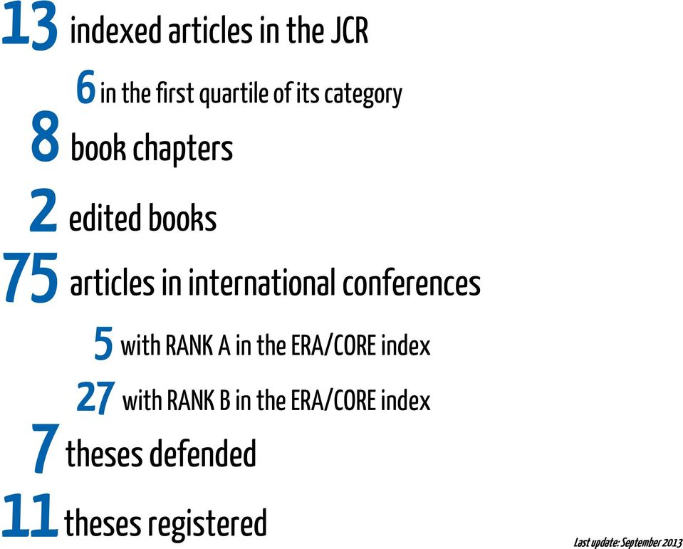 conferences 5 with RANK A in the ERA/CORE index 27 with RANK B in the