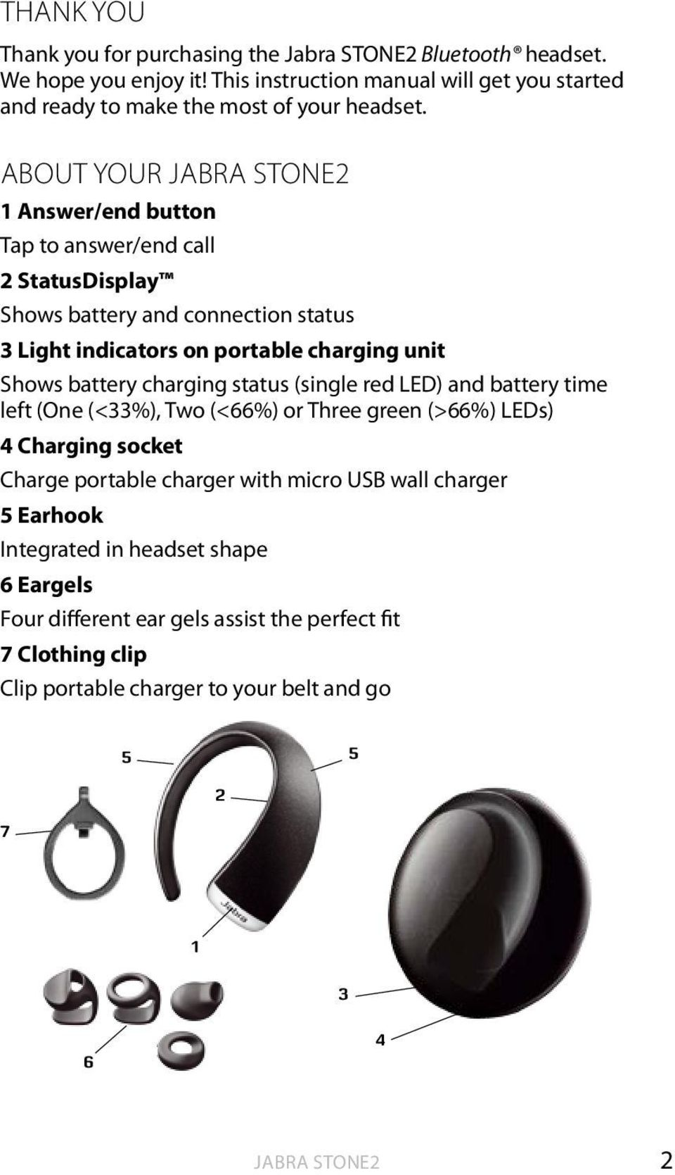 ABOUT YOUR JABRA STONE2 1 Answer/end button Tap to answer/end call 2 StatusDisplay Shows battery and connection status 3 Light indicators on portable charging unit Shows battery