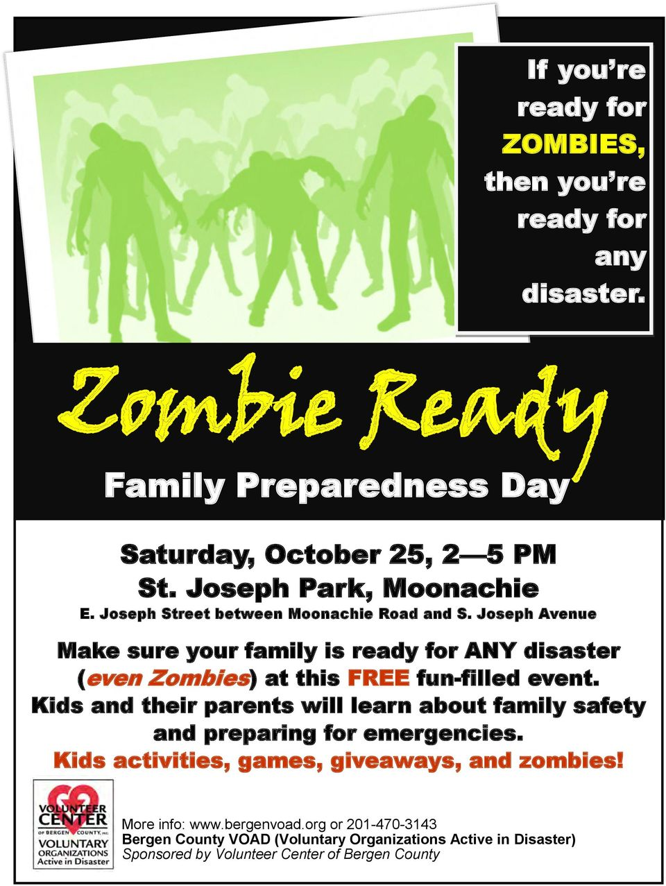 Joseph Avenue Make sure your family is ready for ANY disaster (even Zombies) at this FREE fun-filled event.