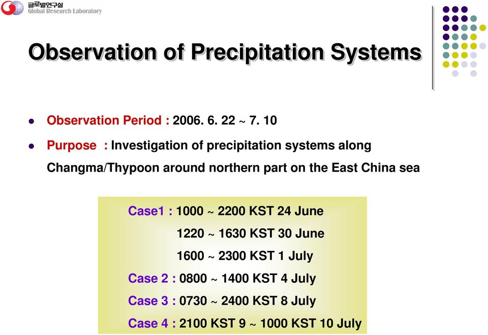 northern part on the East China sea Case1 : 1 ~ 22 KST 24 June 122 ~ 163 KST 3 June