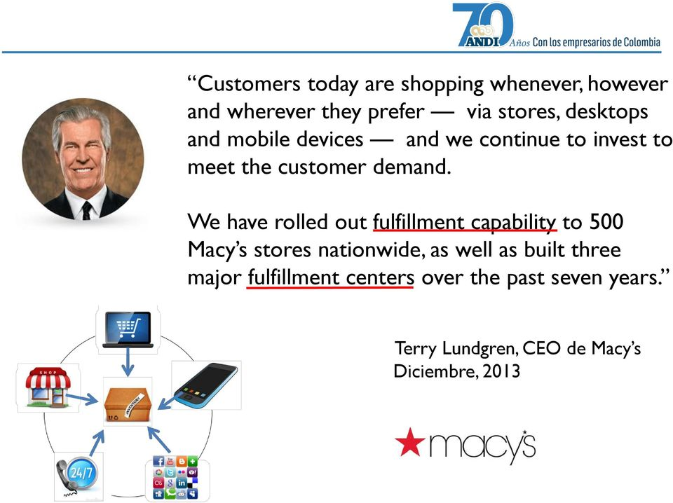 We have rolled out fulfillment capability to 500 Macy s stores nationwide, as well as