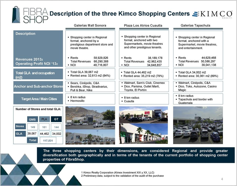 Shopping center in Regional format, anchored with a Supermarket, movie theatres, and entertainment.