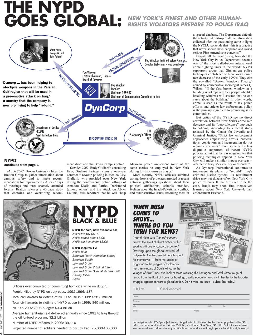 NYPD continued from page 1 White House George W.
