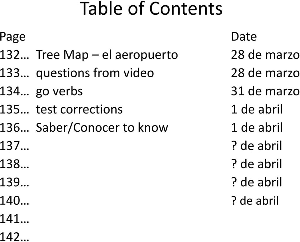 marzo 135 test corrections 1 de abril 136 Saber/Conocer to know 1