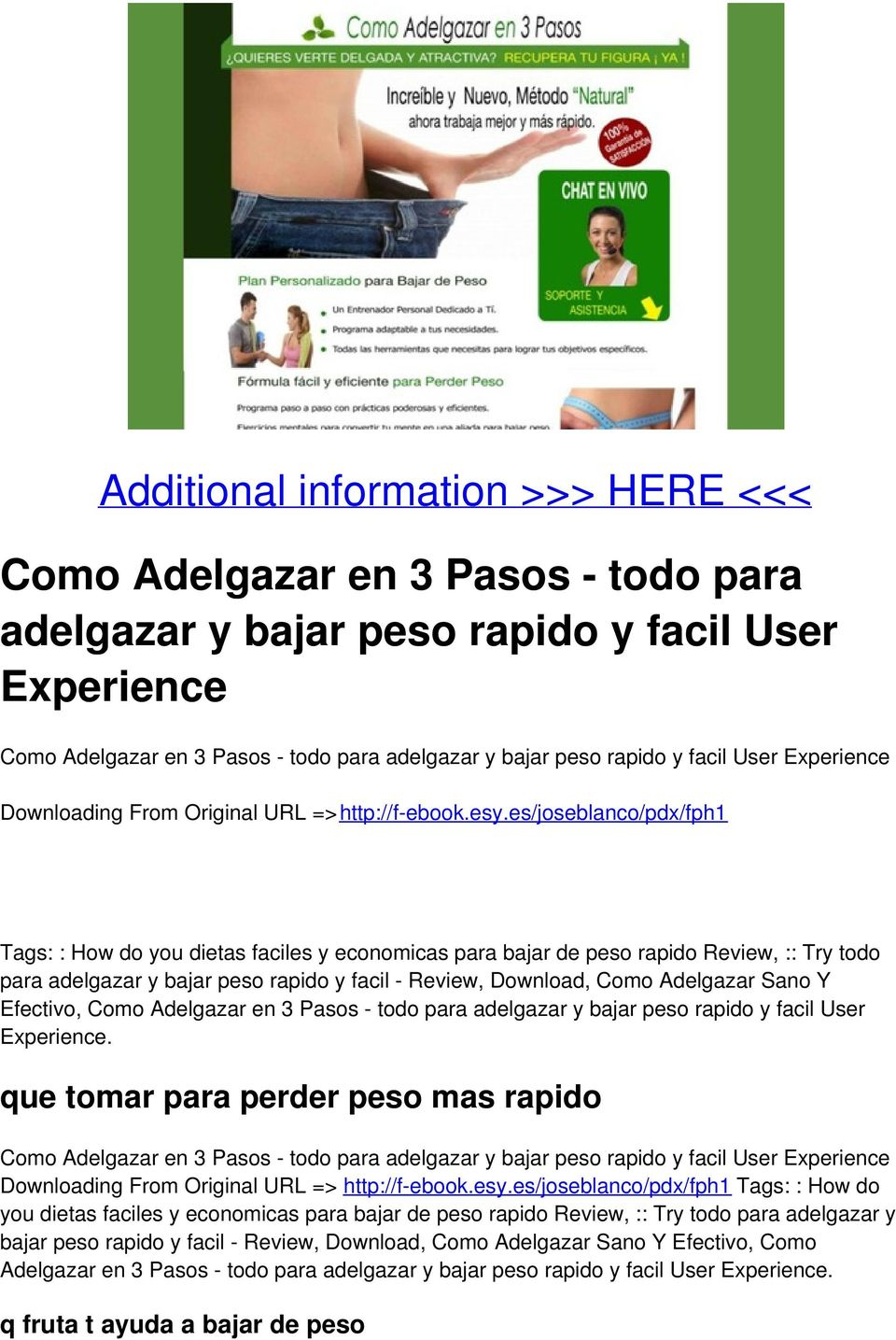 es/joseblanco/pdx/fph1 Tags: : How do you dietas faciles y economicas para bajar de peso rapido Review, :: Try todo para adelgazar y bajar peso rapido y facil - Review, Download, Como Adelgazar Sano