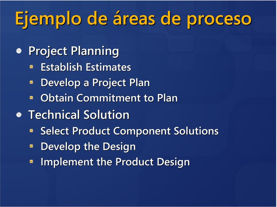 Commitment to Plan Technical Solution Select Product