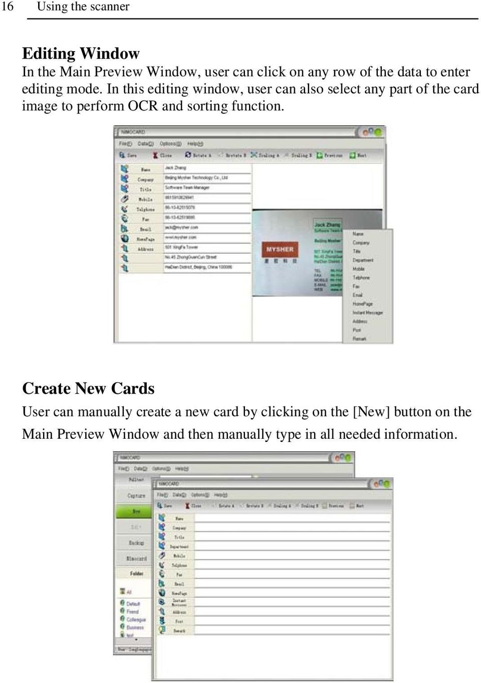 In this editing window, user can also select any part of the card image to perform OCR and sorting