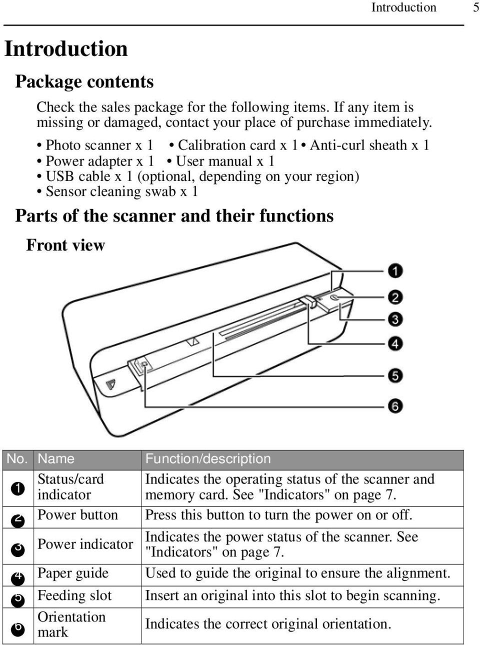 "scanner and their functions Front view No. Name Function/description 1 indicator Status/card Indicates the operating status of the scanner and memory card. See ""Indicators"" on page 7."