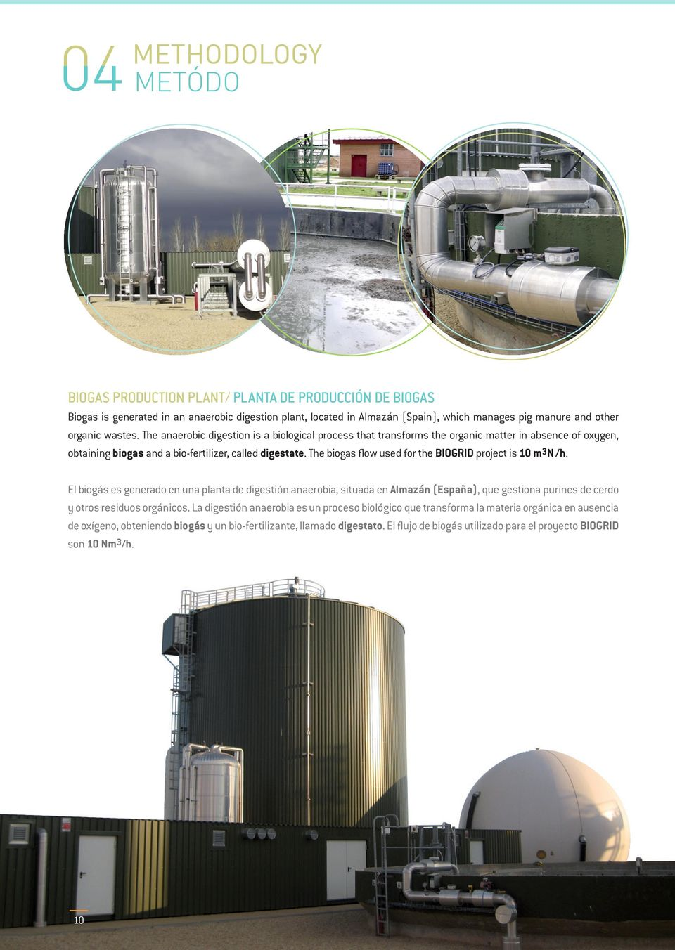 The biogas flow used for the BIOGRID project is 10 m3n /h.