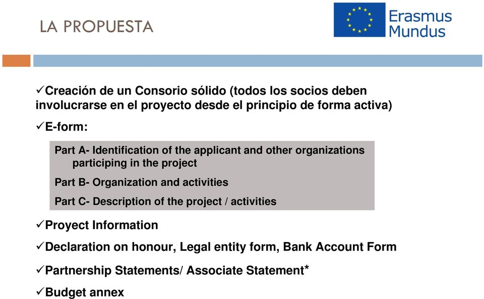 in the project Part B- Organization and activities Part C- Description of the project / activities Proyect