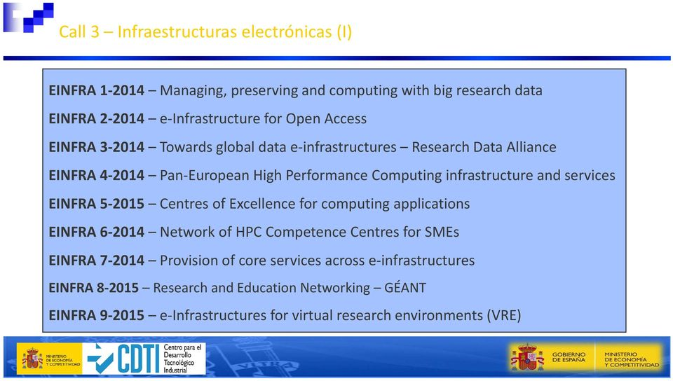 services EINFRA 5 2015 Centres of Excellence for computing applications EINFRA 6 2014 Network of HPC Competence Centres for SMEs EINFRA 7 2014 Provision of