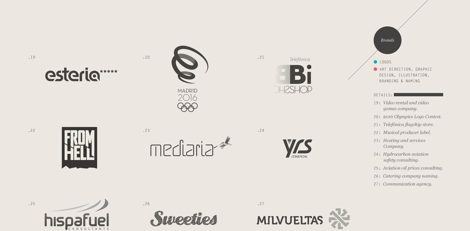 video games company. 20: 2016 Olympics Logo Contest. 21: Telefónica flagship store..22.23.