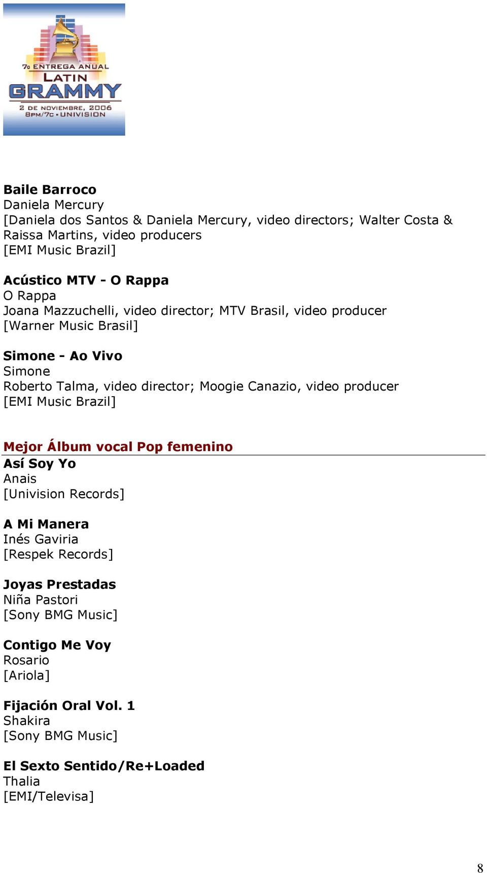 video director; Moogie Canazio, video producer [EMI Music Brazil] Mejor Álbum vocal Pop femenino Así Soy Yo Anais [Univision Records] A Mi Manera Inés