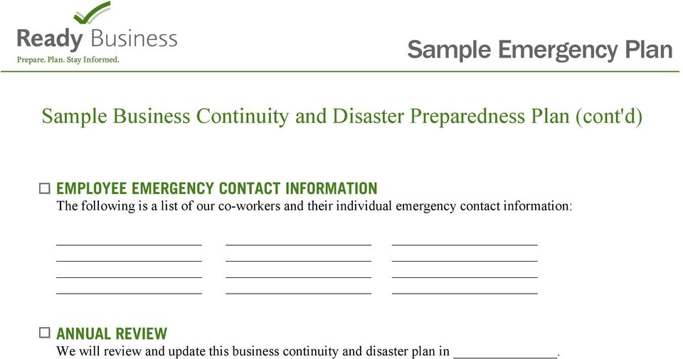 of our co-workers and their individual emergency contact information: ANNUAL