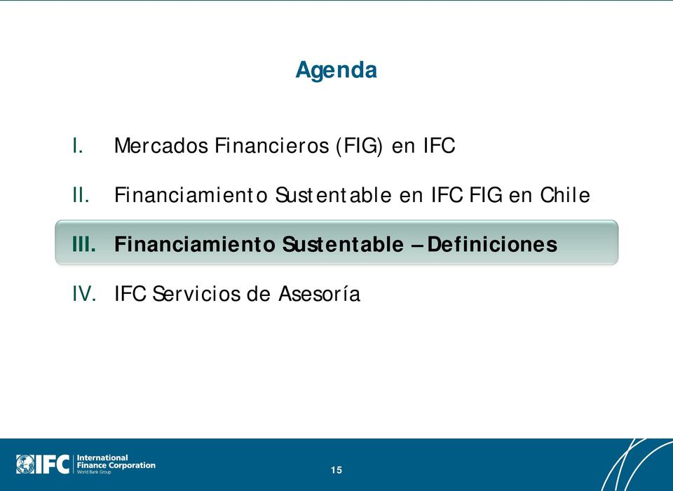 Financiamiento Sustentable en IFC FIG en