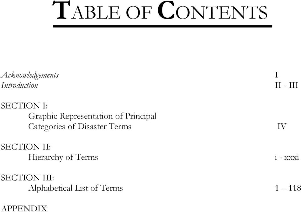 Categories of Disaster Terms SECTION II: Hierarchy
