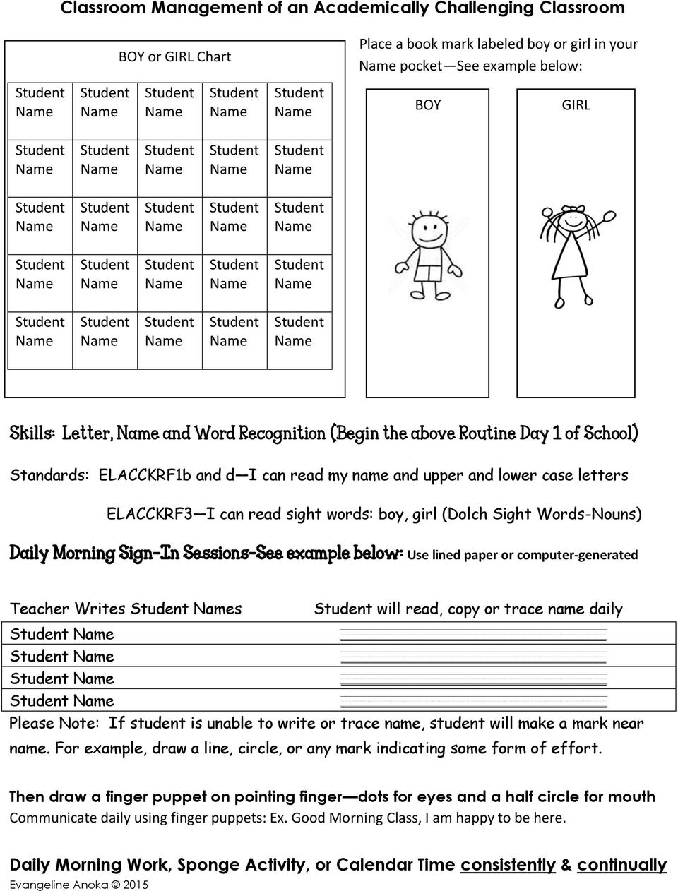 Morning Sign-In Sessions See example below: Use lined paper or computer-generated Teacher Writes s will read, copy or trace name daily Please Note: If student is unable to write or trace name,