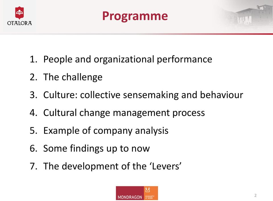 Culture: collective sensemaking and behaviour 4.