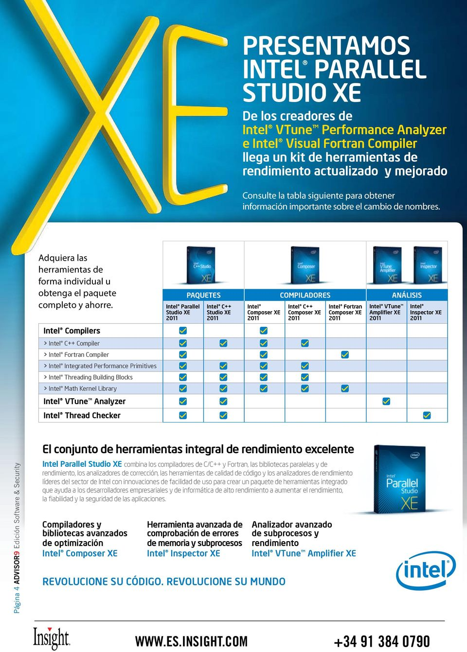 PAQUETES Intel Parallel Studio XE 2011 Intel C++ Studio XE 2011 COMPILADORES Intel Composer XE 2011 Intel C++ Composer XE 2011 ANÁLISIS Intel Fortran Composer XE 2011 Intel VTune Amplifier XE 2011