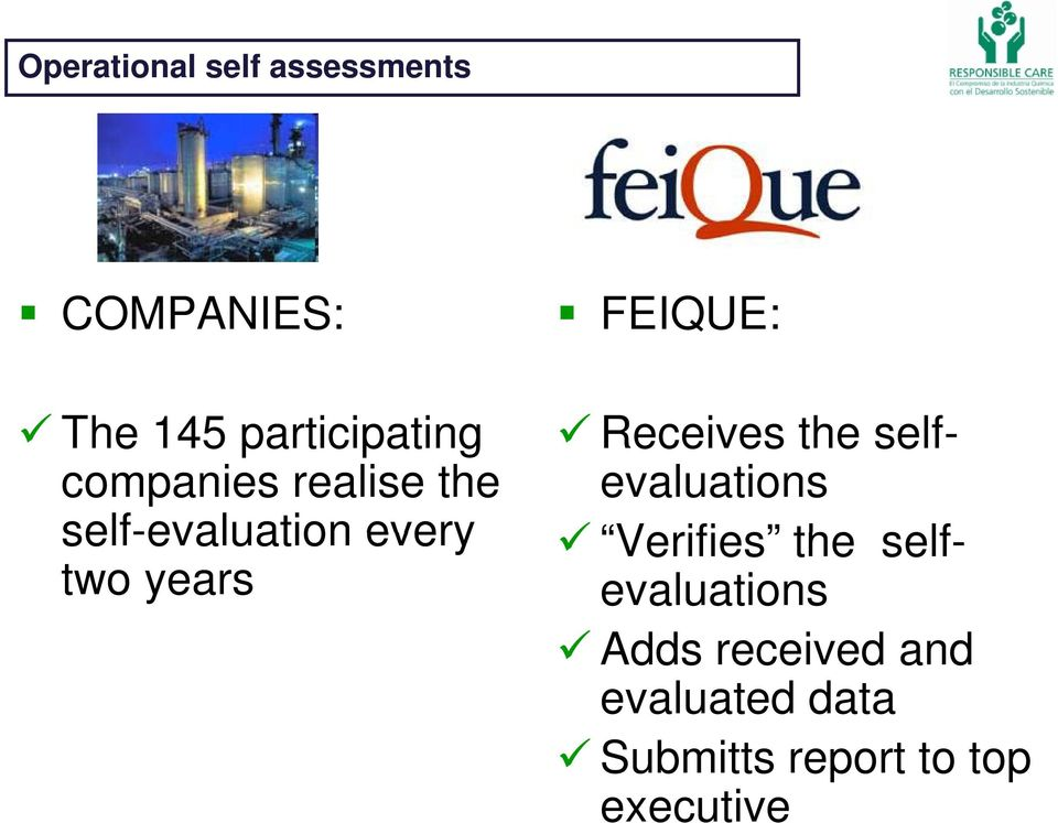FEIQUE: Receives the selfevaluations Verifies the