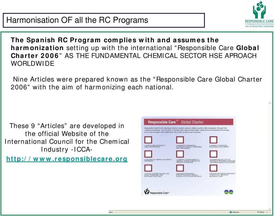 were prepared known as the Responsible Care Global Charter 2006 with the aim of harmonizing each national.