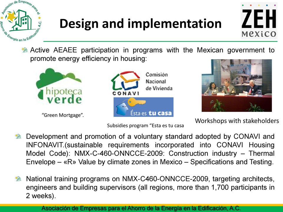Subsidies program Esta es tu casa Workshops with stakeholders Development and promotion of a voluntary standard adopted by CONAVI and INFONAVIT.