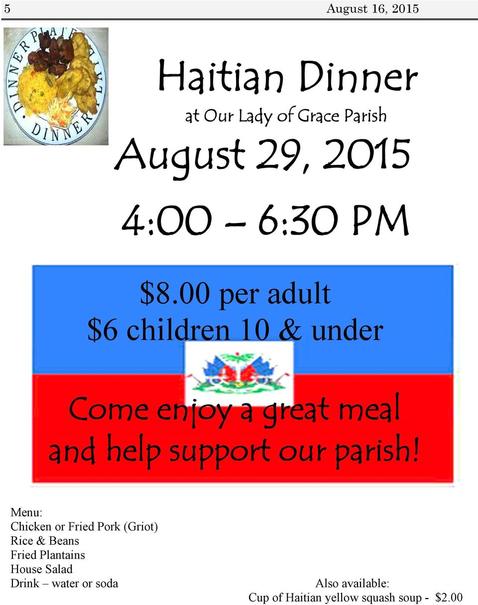 00 per adult $6 children 10 & under Come enjoy a great meal and help support our