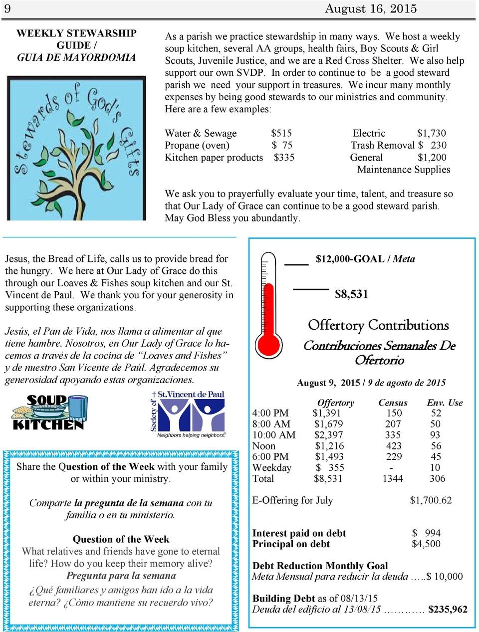 In order to continue to be a good steward parish we need your support in treasures. We incur many monthly expenses by being good stewards to our ministries and community.