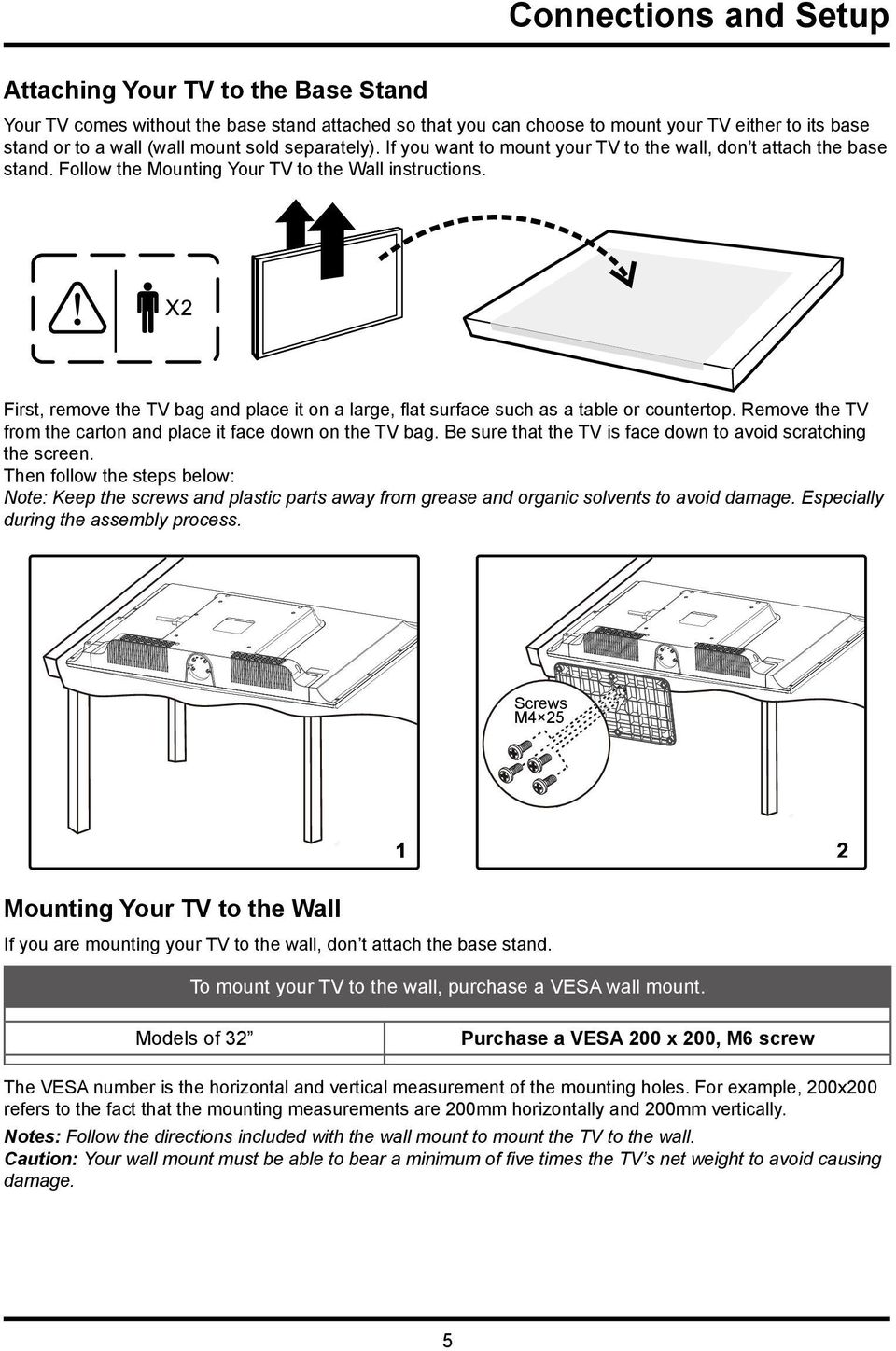 First, remove the TV bag and place it on a large, flat surface such as a table or countertop. Remove the TV from the carton and place it face down on the TV bag.