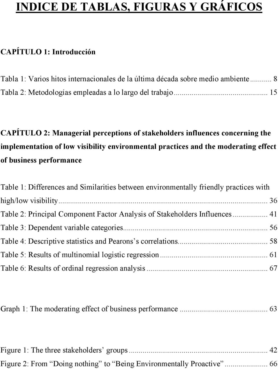 Differences and Similarities between environmentally friendly practices with high/low visibility... 36 Table 2: Principal Component Factor Analysis of Stakeholders Influences.