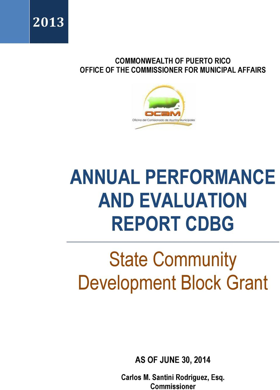 AND EVALUATION REPORT CDBG State Community